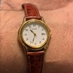 Pulsar petite gold watch w/mahogany leather strap